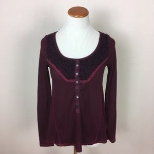 Free People Thermal Henley Loose Fit Maroon Small